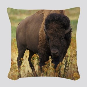 American Bison Woven Throw Pillow